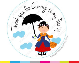 Mary Poppins Stickers, Thanks for coming to my Birthday Party. Mary Poppins Inspired PRINTED round Stickers, tags, Labels A982