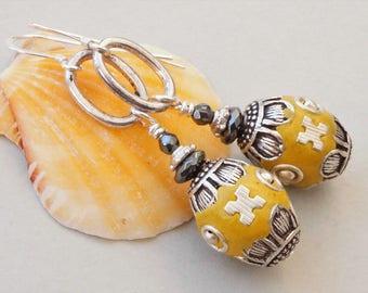 Haematite and Kashmiri bead earrings, yellow ochre and grey earrings, mustard yellow Kashmiri clay bead earrings, ethnic style earrings
