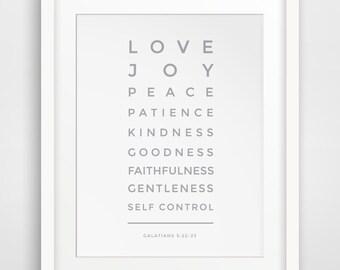 Grey Bible Verse Print, Love, Joy, Peace, Patience, Galatians 5 22, Christian Print, Christian Art, Bible Verse Art, Scripture Wall Art
