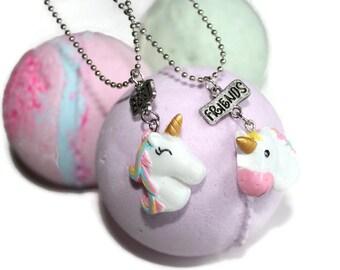 unicorn necklace, BATHBOMBS, best friend necklace, girls necklace, toddler necklace, unicorn bath bomb, unicorn pendant, best friends gift