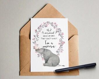 Me? A mermaid? -Post card folded greeting card