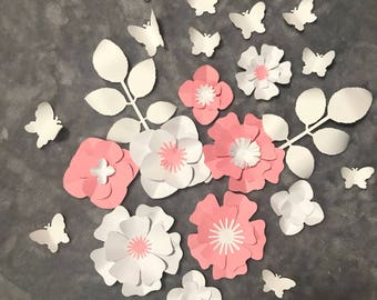 Mini paper flowers and butterfly