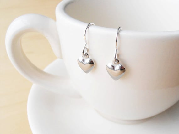 Silver Heart Earrings - Sterling Silver