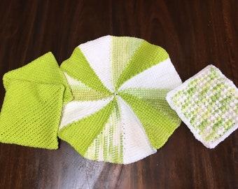 Pot Holders- Crochet Potholders, Handmade Pot Holders, Crochet Hot Pads, Potholders Set of Four, Green and White Hot Pads