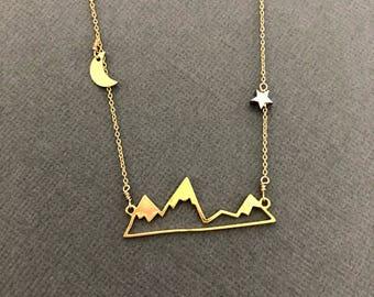 Mountain Necklace, 18K Vermeil Mountain Range Necklace, Nature necklace, Mountain Top Necklace, Nature Jewelry, Hiker, Mountain lover