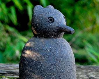 Black Stoneware Medium Shrew Mouse Sculpture