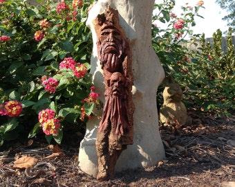 "Original 14"" hand carved wood spirit gnome elf cottonwood bark wooden sculpture mystical woodland folk art rustic home decor collectible"