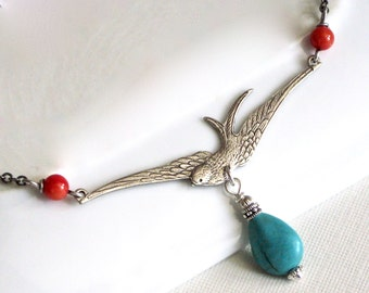 Turquoise Bird Necklace -Silver Necklace, Southwest Jewelry, Bird Jewelry, Nature Jewelry
