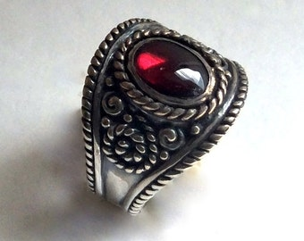 Gypsy Jewelry, Garnet Ring, antique ring, wide ring, red stone ring, stone ring, boho ring, Tibetan ring, oval ring - The Real Thing R2220