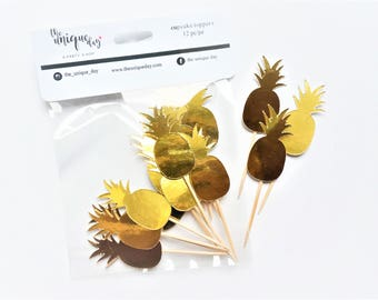 Gold Pinneapple Cupcake Toppers - Set of 12