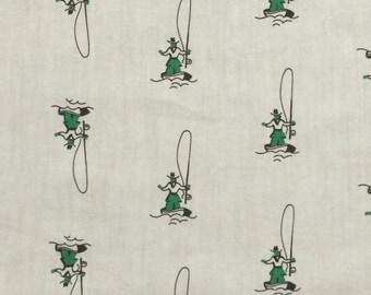 Cotton Fabric / Fishing Fabric / Vintage Fishing Fabric / Boating Fabric / Man Cave Fabric