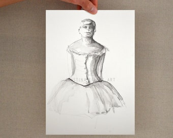 Original drawing inspired on Degas ballerina sculpture- A5 female dancer art drawing on paper, pencil art modern dancer, pencil drawing