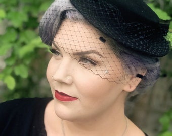 The Isadora wool boater hat with french netting