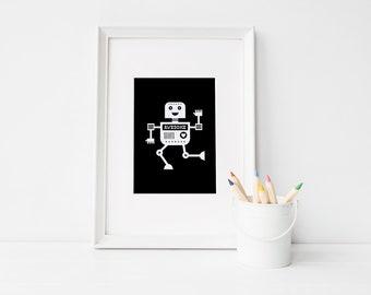 Robot Nursery Print • Black and White Print • Digital Download • Robot Wall Art • Robot Print • Awesome Robot • Boy Room Wall Art