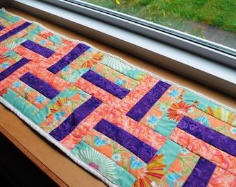 Handmade Quilted Table Runner Purple Orange Green