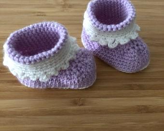 Baby Booties, handmade merino wool crochet