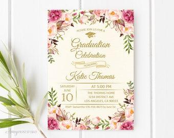 Graduation Invitation, Graduation Party Invite, Floral Ivory Graduation Invitation, PERSONALIZED, Digital file, #G05