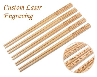 100 Pairs Bamboo Chopsticks with Custom Laser Engraving of Logo and Names, Wholesale Bulk Chopsticks for Corporation and Business