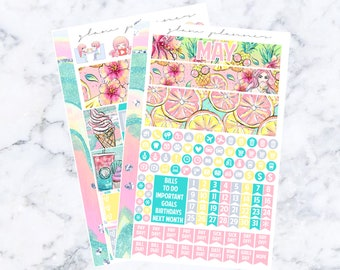 May A5 Monthly Spread Sticker Kit (Glam Planner Stickers for Erin Condren Life Planner)
