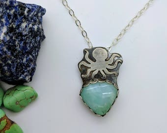octopus green opal silver necklace