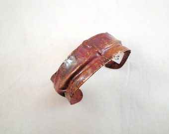 Red copper cuff bracelet.  One of a kind. Gift idea.  ON SALE NOW.  Fold forming