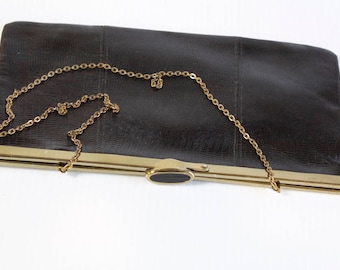 Vintage Etra Clutch - 1960s Black Leather Clutch Purse with diamond opening