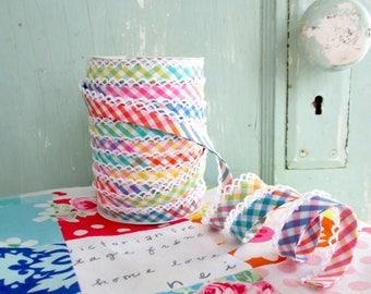 Multicolored Gingham Crochet Edge Bias Tape (No. 94). Rainbow. Gingham Fabric.   Spring. Multicolored. Bias Tape.