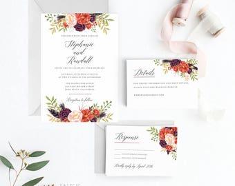 Marsala Burgundy Wedding Invitation Suite Printable, Wedding Invitation Printable, Invitation Set,Letter or A4 (Item code: P1043)