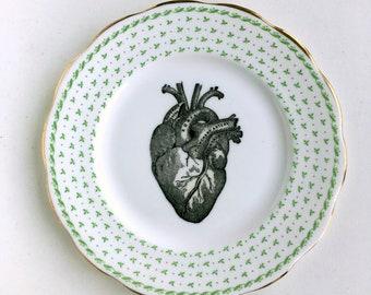 Vintage Anatomical Heart Plate Altered Art