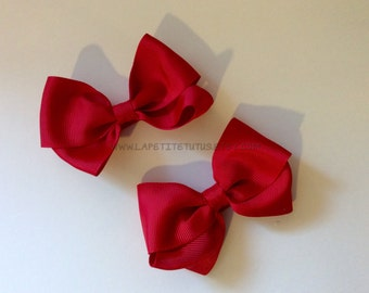 Red hairbows, costume bows, halloween costume, custom made, childs costume, halloween accessories, toddler costume, baby costume