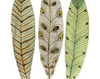 Gefiederten Federn grün drucken, Vogel Federn Kunst, Kunstdruck, Reproduktion Aquarell, Abbildung