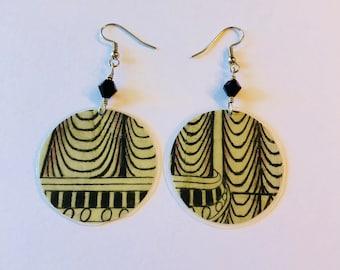 Geometric Pattern Recycled Magazine Circle Earrings