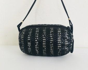 Vintage Black LEATHER Woven ROUND Crossbody Handbag