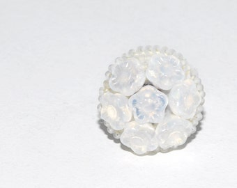 Floral Frost Ring, One of a Kind Handmade Bead Embroidery Statement Adjustable Ring in White with Iridescent Accents Unique Christmas Gift