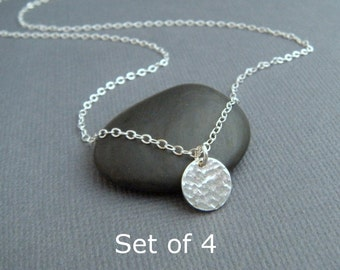 "bridesmaid gifts. Set of 4 - silver circle necklaces - tiny sterling silver necklace. hammered circle. simple wedding. 3/8"". bridal jewelry"