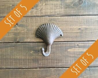 Set of 5 Brown Shell Hooks   Bulk Hooks   Discount Hooks   Seashell Hooks   Coat Rack   Wall Hooks   DIY Kit