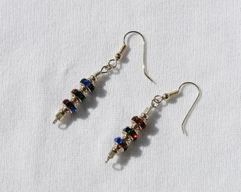 Crystal  Multi Color  Drop  Sterling Silver Earrings   Handmade