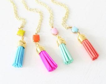 Girls Tassel Necklace, Girls Tassel and Set Stone Necklace, Faux Suede Tassel Necklace, Set Stone Necklace, Teen Jewelry