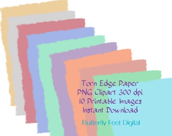 PNG Clipart Torn Edge, Printable Note Paper, 4.5 x 6.5, Journaling, Scrapbooking, Card Making, Instant Download