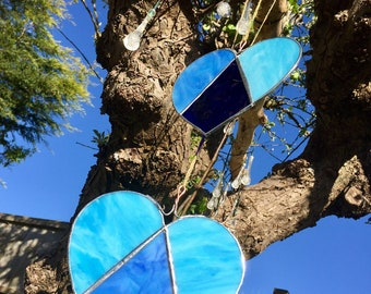 Stained glass blue hearts