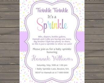 Purple Baby Girl Sprinkle Invitation, Sprinkles Lavender Baby Sprinkle Invitation, Baby Girl Sprinkle, printable Printable