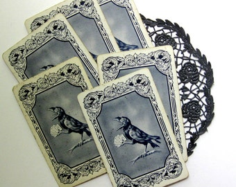 8x Vintage Rook Cards, Scary for Halloween, Midnight Creepy Blue, Crow