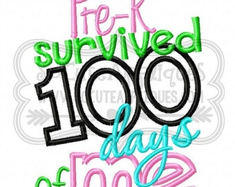 100 Days of School Survived *any grade* Applique Shirt or Bodysuit Boy or Girl