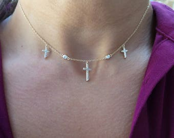 Cross Necklace/ Sterling Silver Cross Necklace/ Cross Choker Necklace/ Yellow Gold Plated Cross Necklace/ Religious/ Confirmation/ Birthday