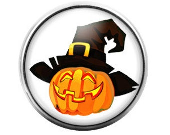 Pumpkin Jack o Lantern Witch Halloween- 18MM Glass Dome Candy Snap Charm GD0054