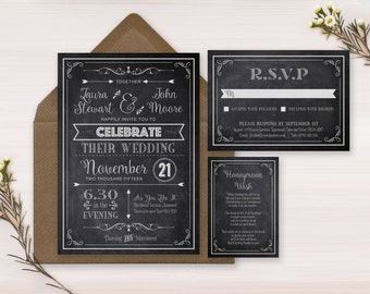 Printable Wedding Invitation, Chalkboard Wedding Invitation, Vintage Wedding Invitation, Blackboard Wedding Invitation, Rustic, Digital File