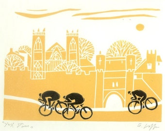 Tour de France Linocut , Cycling Art - Printmaking  Bicycle Print -  Original Yellow and Black Print  - Tour the Yorkshire,Bike Art