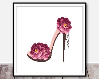 Flowers cross stitch pattern PDF Shoe girl cross stitch counted cross stitch chart Flowers embroidery rose Xstitch Easy Floral cross stitch