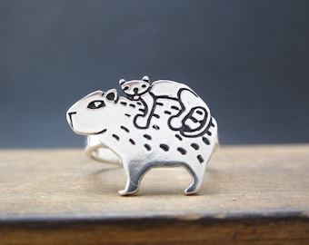 Sterling Silver Cat and Capybara Ring - Animal Friends Ring