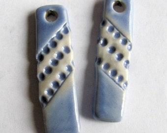 Ceramic Earring, Ceramic Dangles, Jewelry Component, Ceramic Pendants, Blue Charms, Blue Component, Blue Charms, Clay earrings, Clay Pendant
